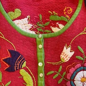 Gudrun Sjöden embroidered sweater, red. Size M